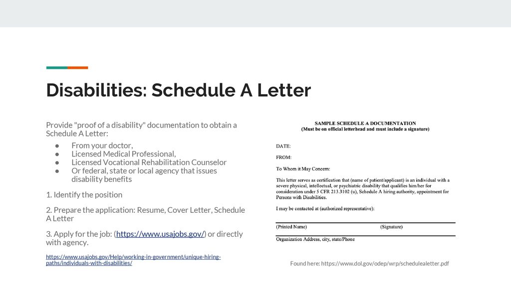 Disabilities Schedule A Letter