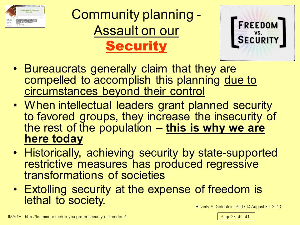 Community planning - Assault on our Security