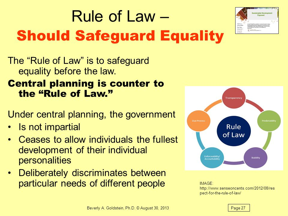 Rule of Law – Should Safeguard Equality