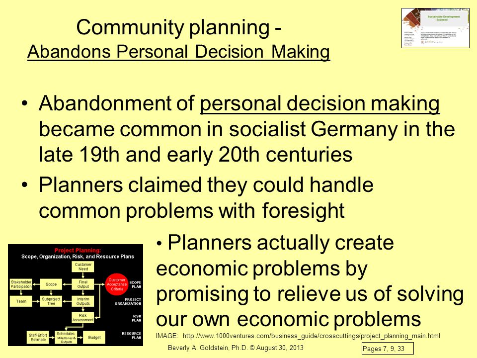 Community planning - Abandons Personal Decision Making