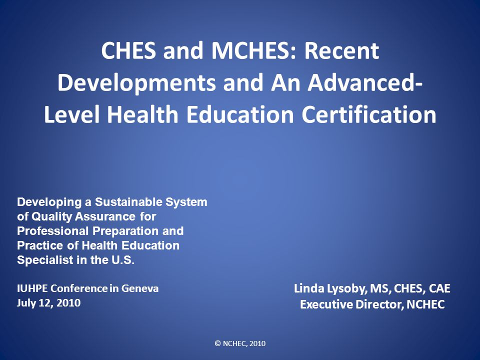 Linda Lysoby Ms Ches Cae Executive Director Nchec Ppt Download