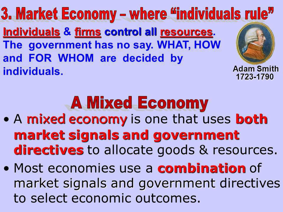 3. Market Economy – where individuals rule