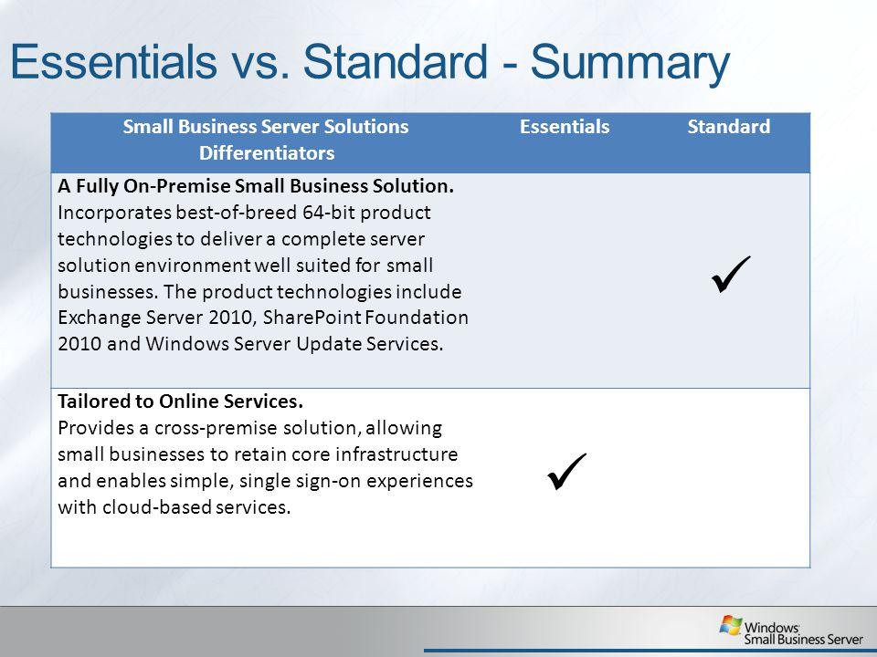 Essentials vs. Standard - Summary