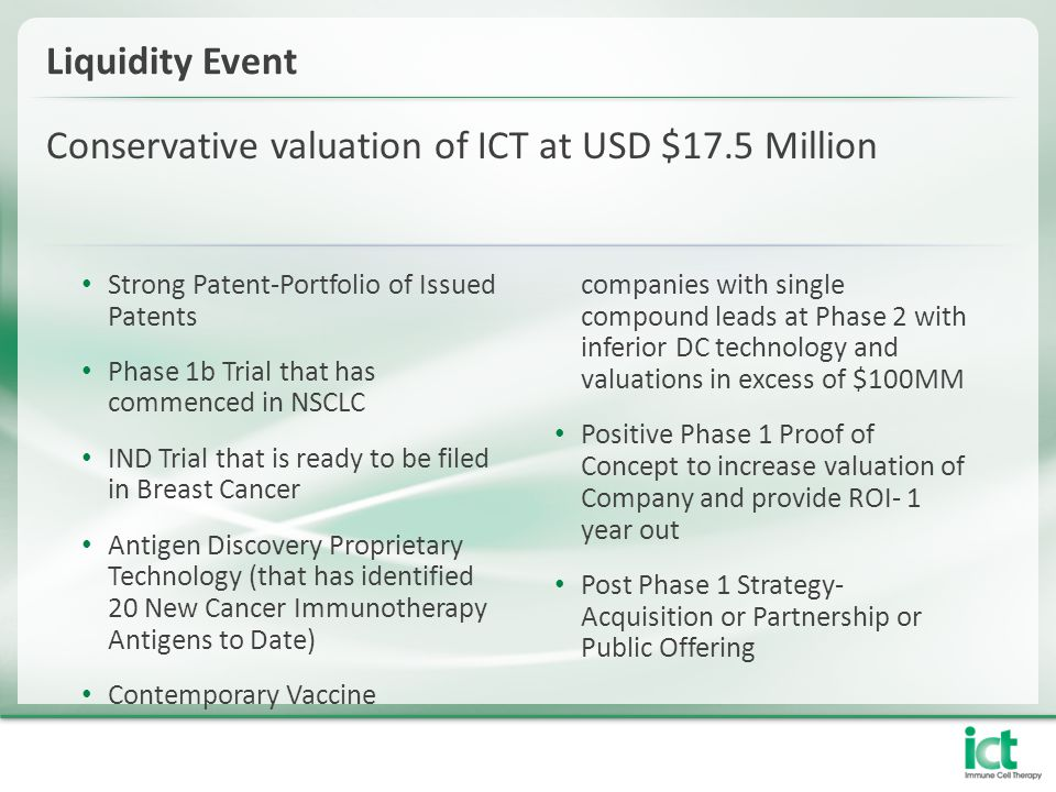 Conservative valuation of ICT at USD $17.5 Million