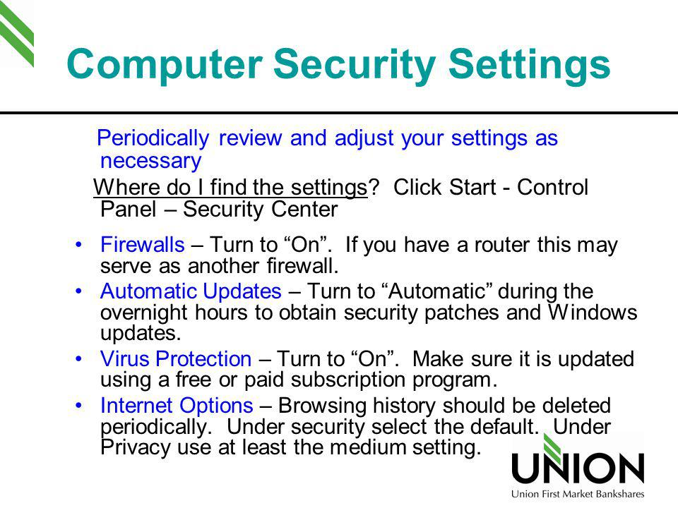 Computer Security Settings