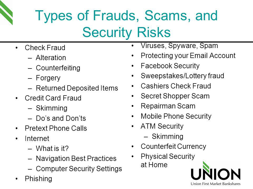 Types of Frauds, Scams, and Security Risks