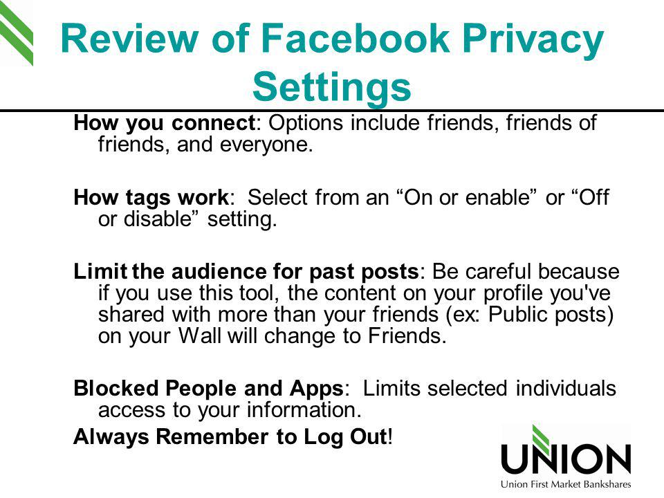 Review of Facebook Privacy Settings