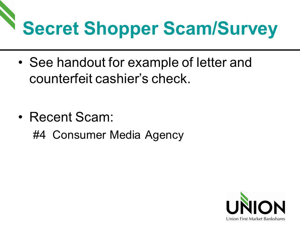 Secret Shopper Scam/Survey