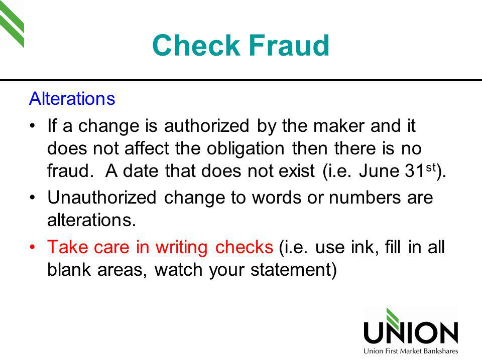 Check Fraud Alterations