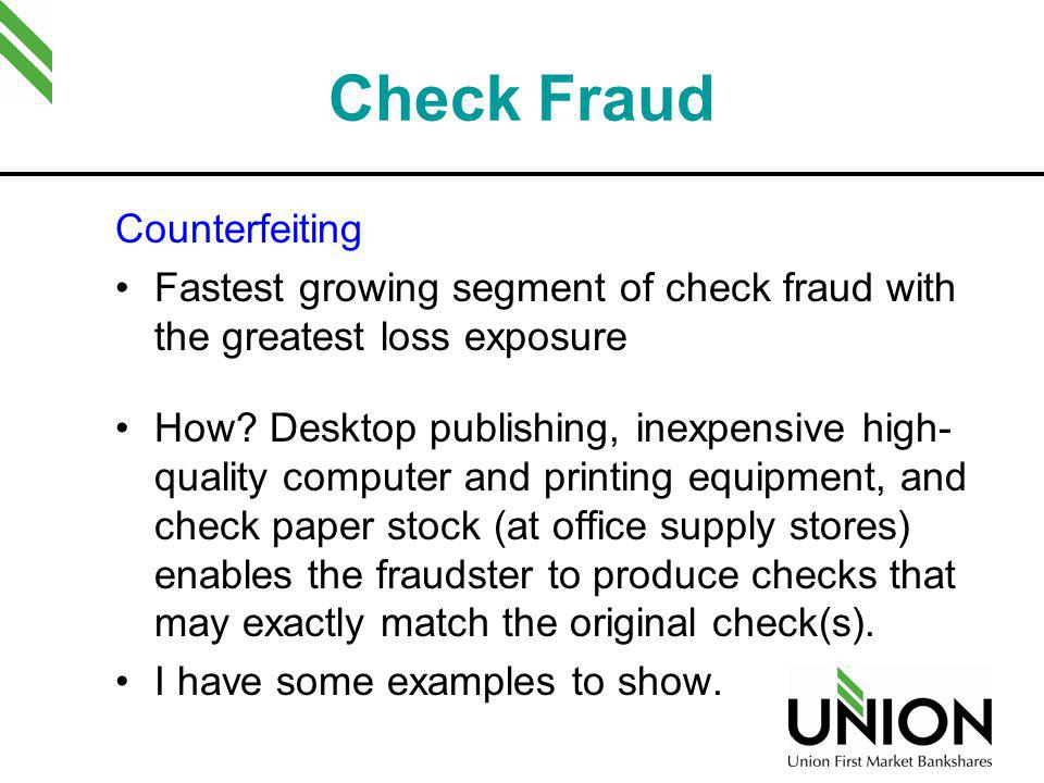 Check Fraud Counterfeiting