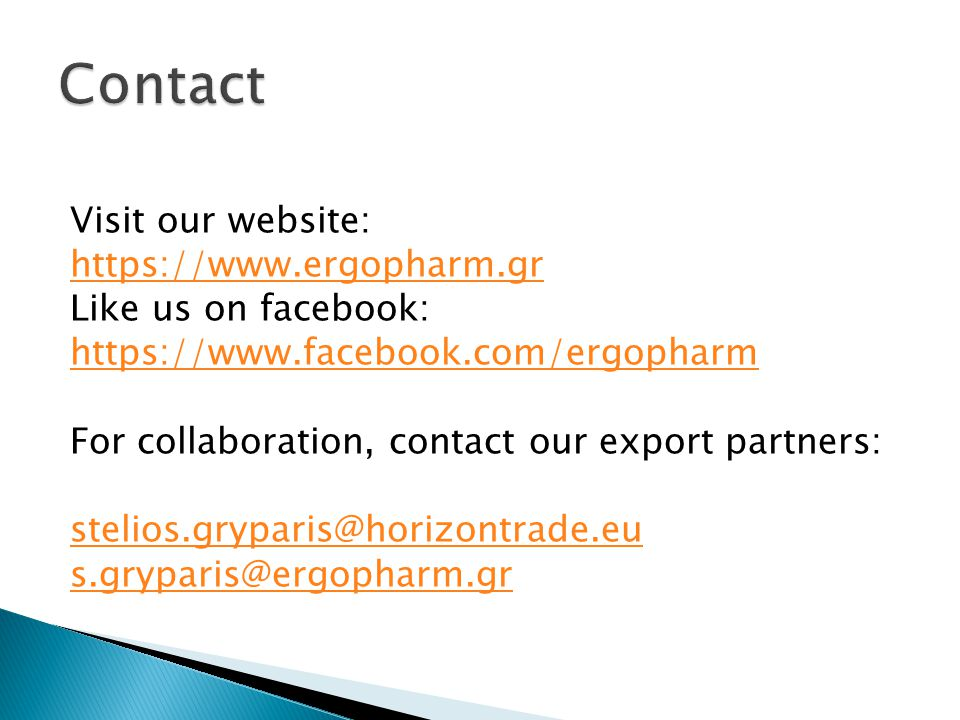 Contact Visit our website: https://www.ergopharm.gr