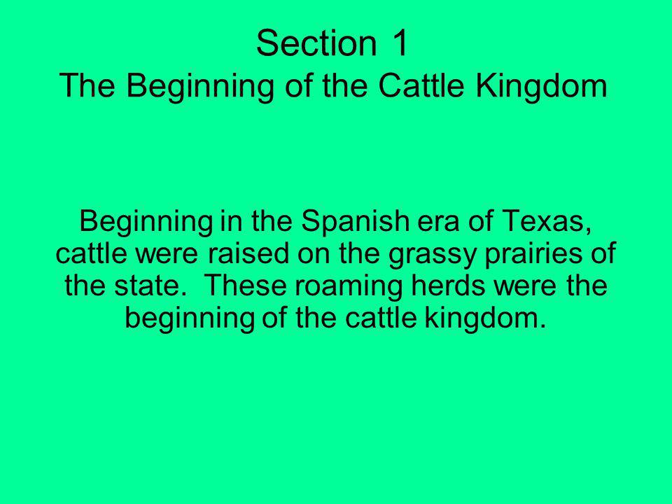 Section 1 The Beginning of the Cattle Kingdom
