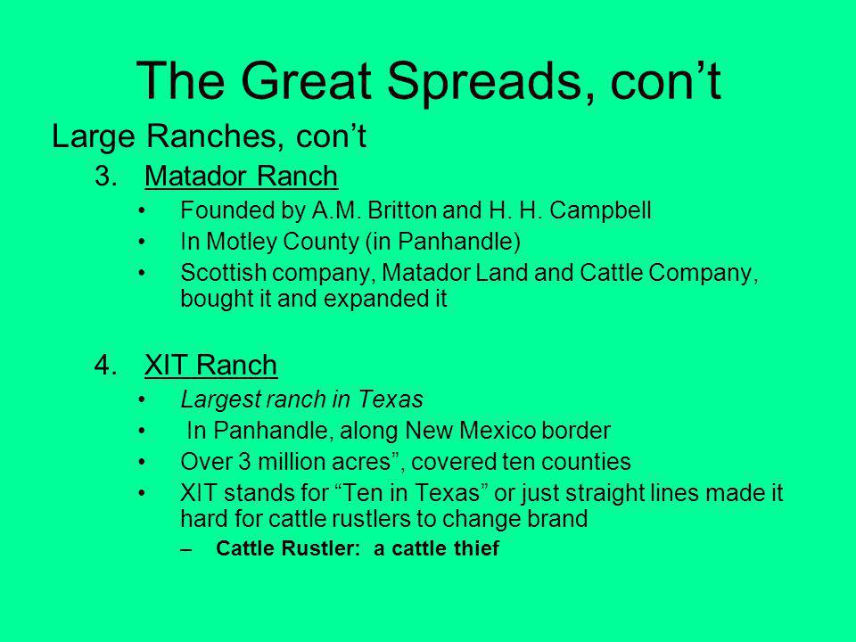 The Great Spreads, con't