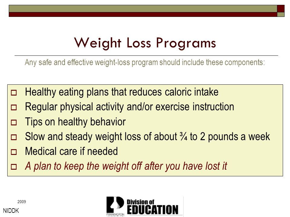 Weight Loss Programs Healthy eating plans that reduces caloric intake