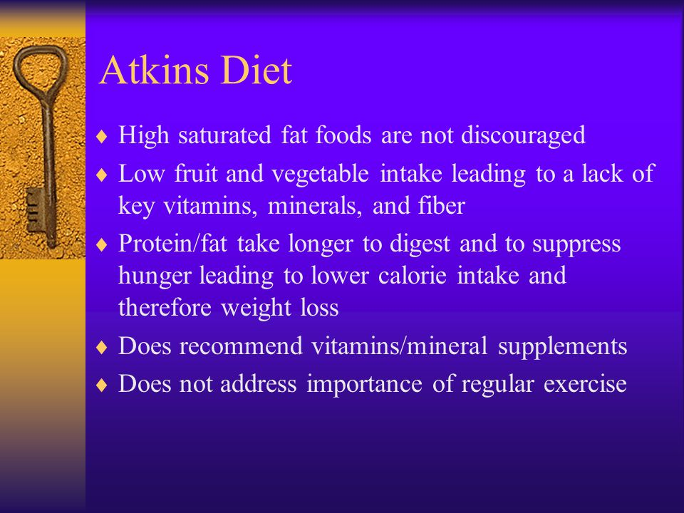 Atkins Diet High saturated fat foods are not discouraged