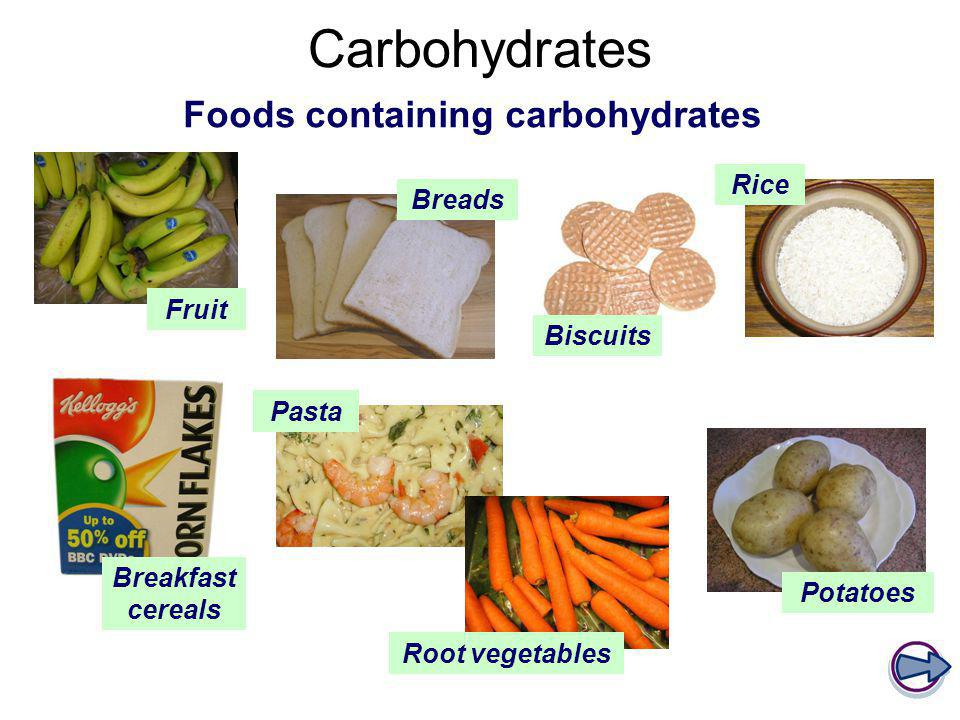 Foods containing carbohydrates