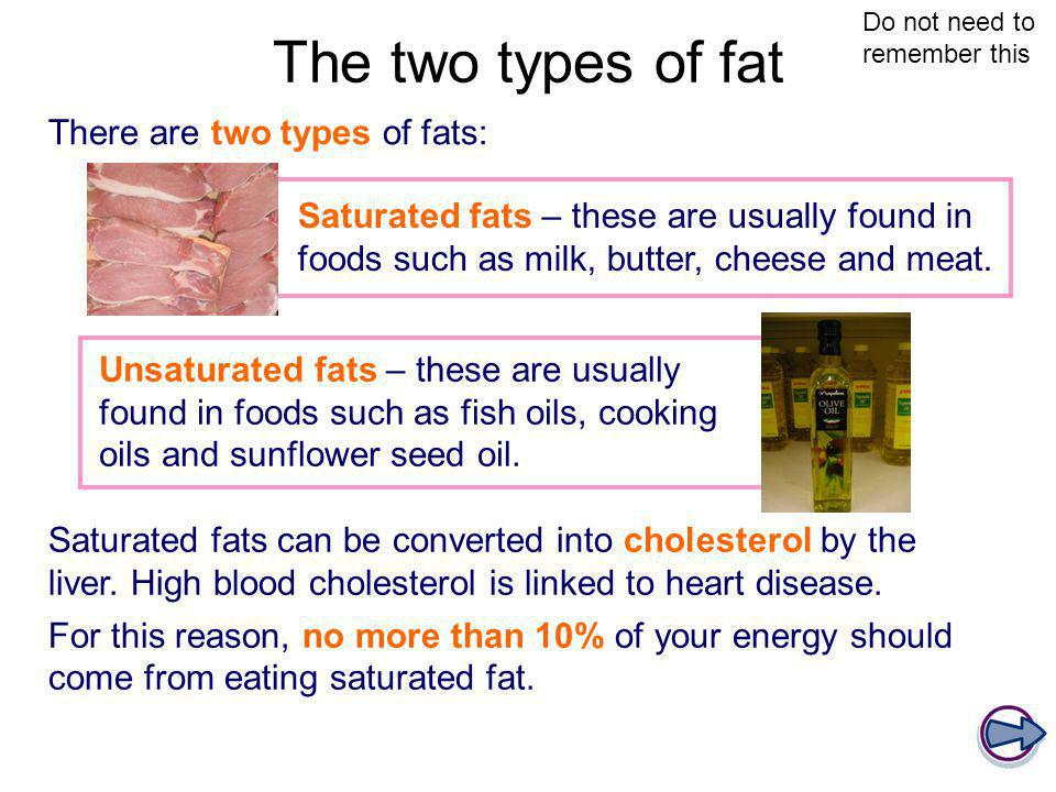 The two types of fat There are two types of fats: