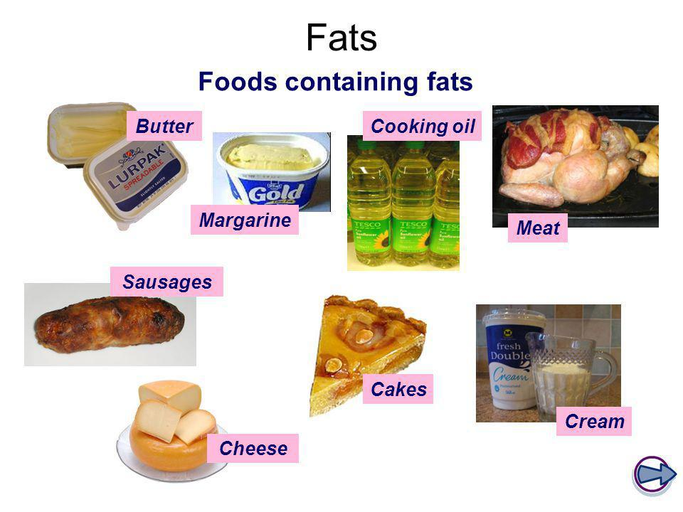 Fats Foods containing fats Butter Cooking oil Margarine Meat Sausages