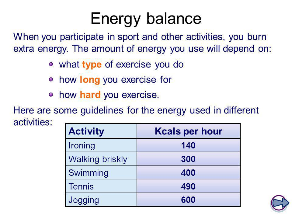 Energy balance When you participate in sport and other activities, you burn extra energy. The amount of energy you use will depend on:
