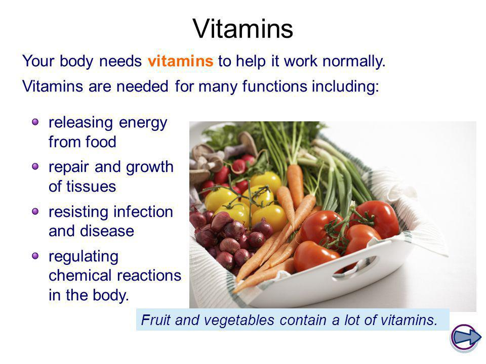 Vitamins Your body needs vitamins to help it work normally.