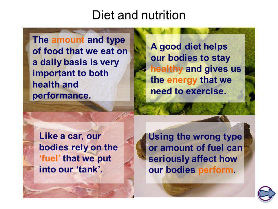 Diet and nutrition The amount and type of food that we eat on a daily basis is very important to both health and performance.