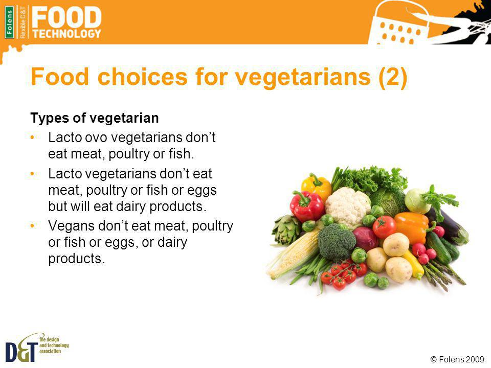 Food choices for vegetarians (2)