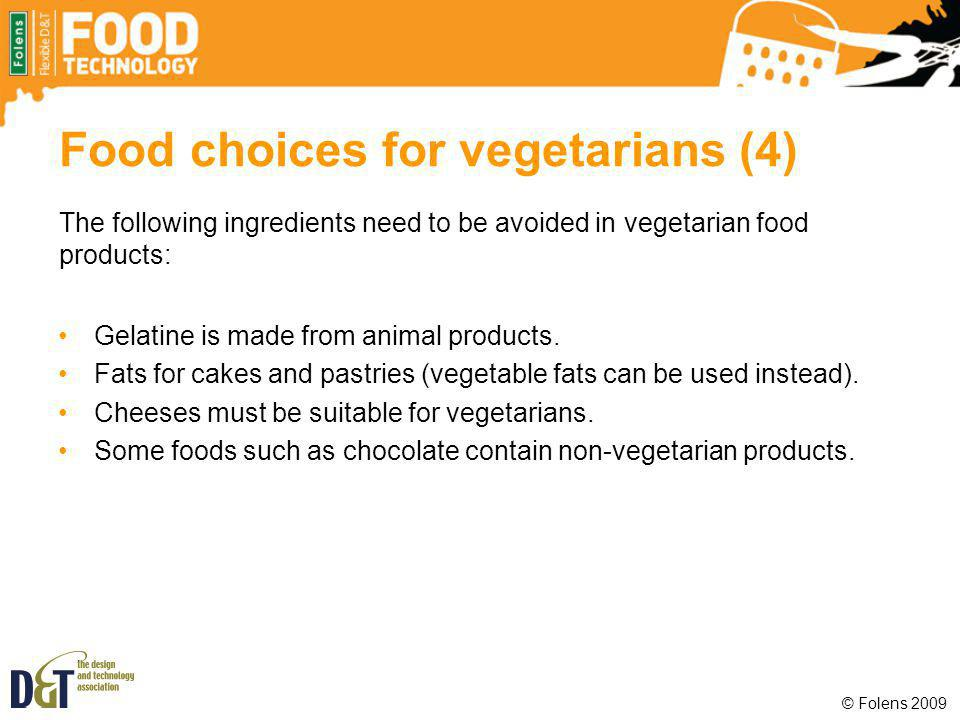 Food choices for vegetarians (4)