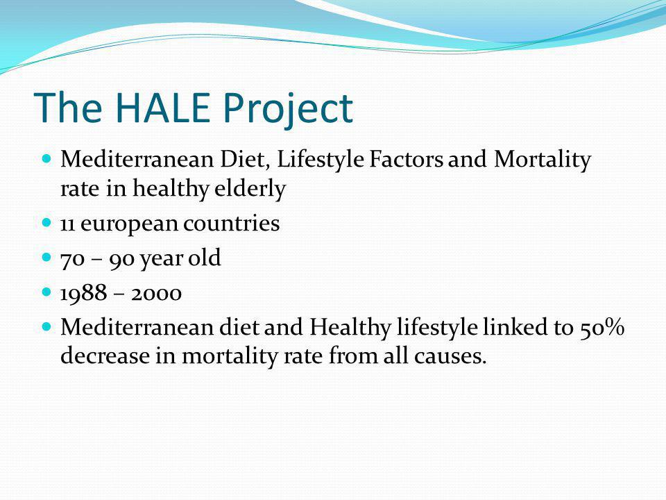 The HALE Project Mediterranean Diet, Lifestyle Factors and Mortality rate in healthy elderly. 11 european countries.