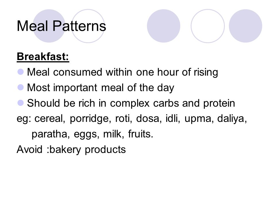 Meal Patterns Breakfast: Meal consumed within one hour of rising