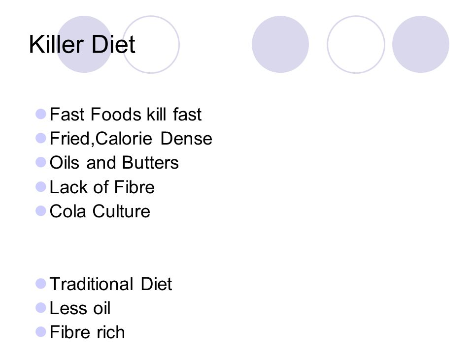 Killer Diet Fast Foods kill fast Fried,Calorie Dense Oils and Butters