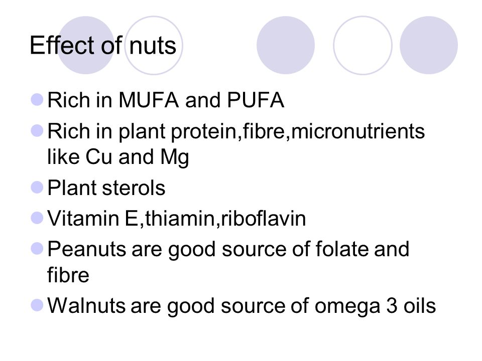 Effect of nuts Rich in MUFA and PUFA