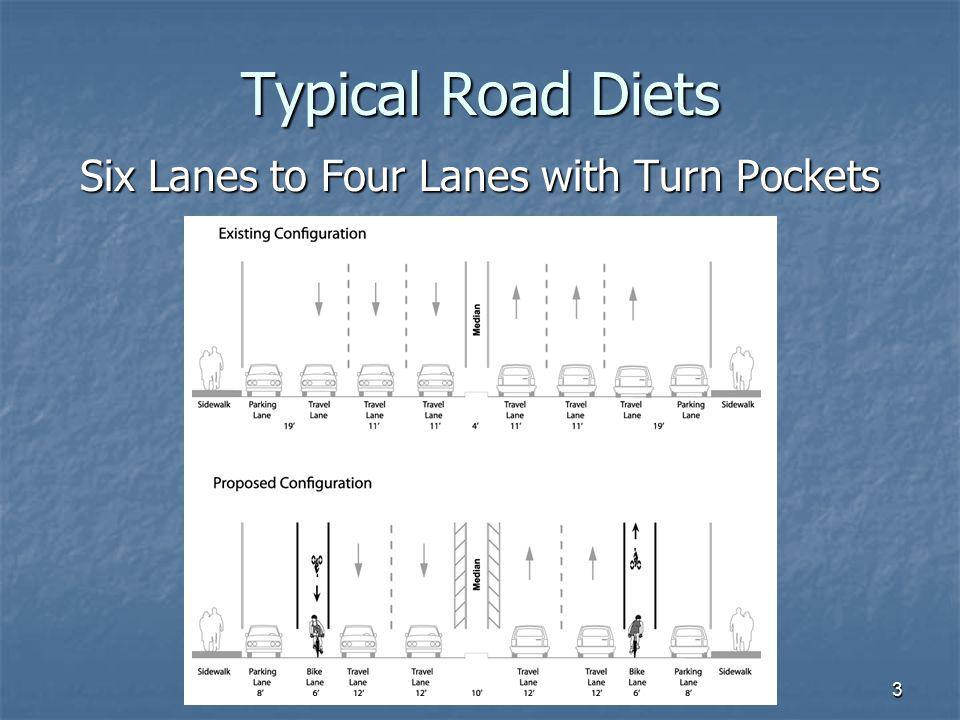 Six Lanes to Four Lanes with Turn Pockets