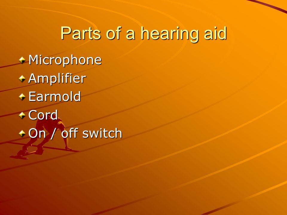 Parts of a hearing aid Microphone Amplifier Earmold Cord