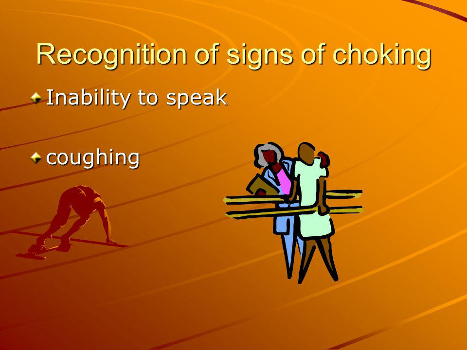 Recognition of signs of choking