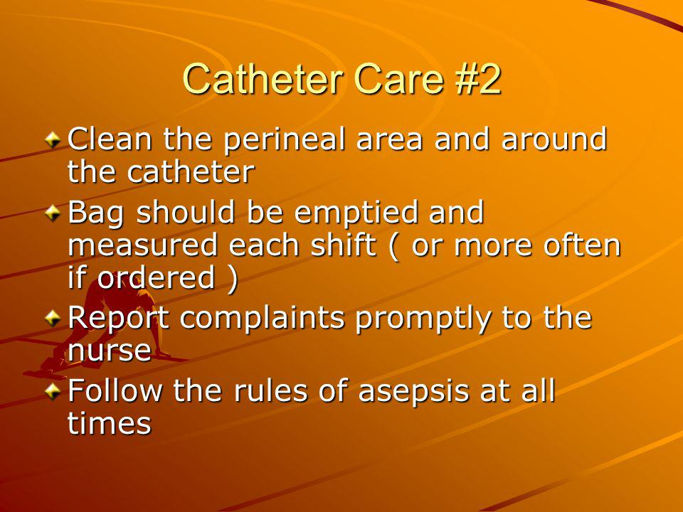 Catheter Care #2 Clean the perineal area and around the catheter