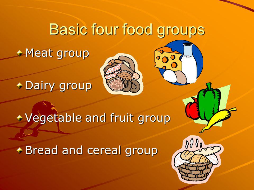 Basic four food groups Meat group Dairy group