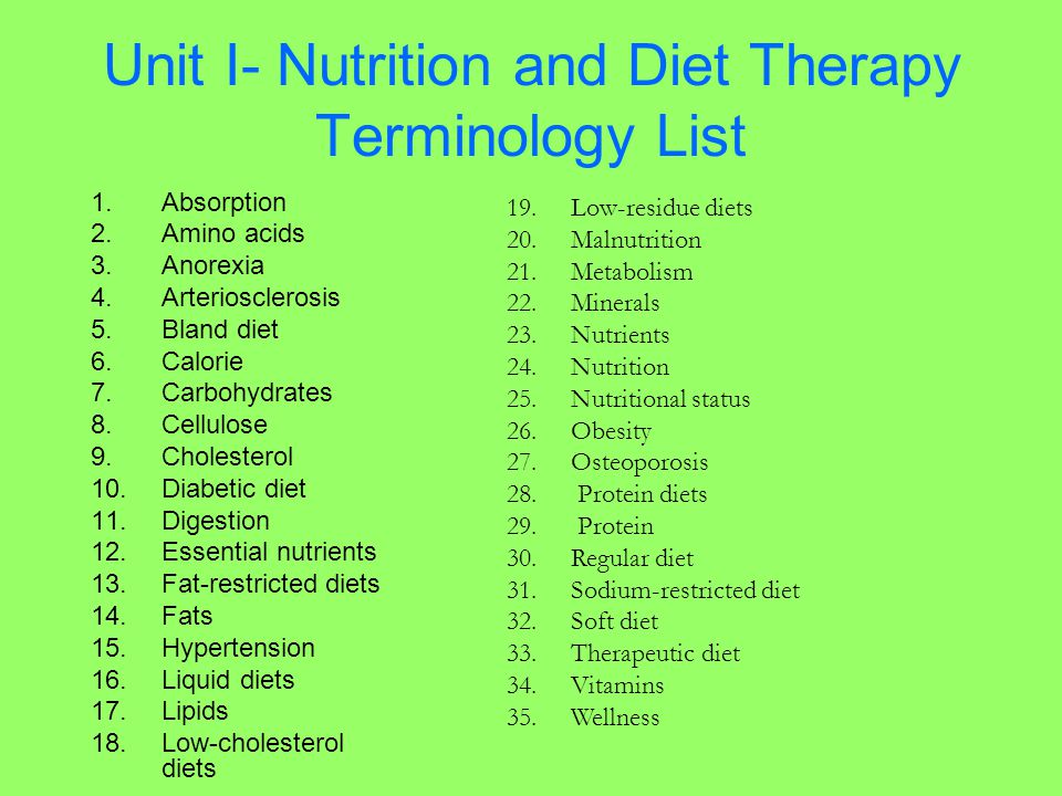 Unit I- Nutrition and Diet Therapy Terminology List