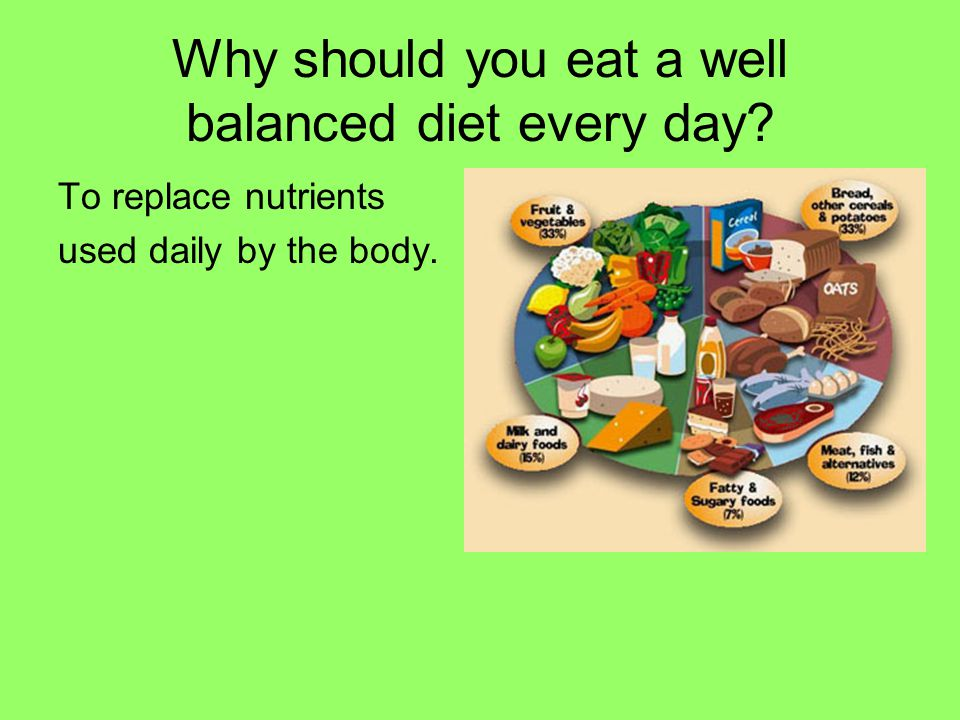 Why should you eat a well balanced diet every day