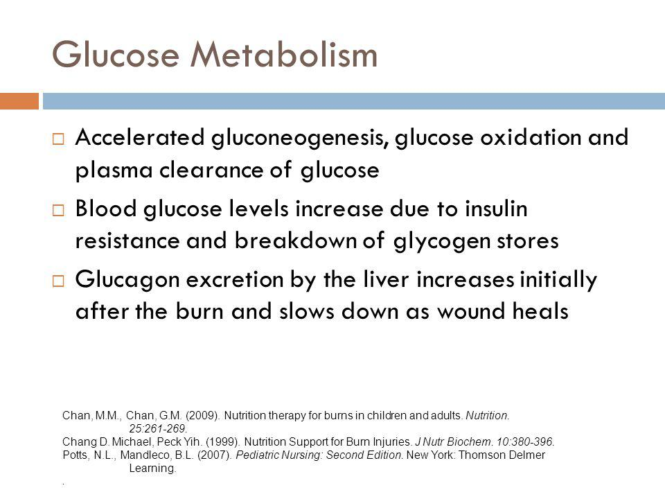 Glucose Metabolism Accelerated gluconeogenesis, glucose oxidation and plasma clearance of glucose.