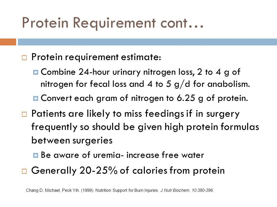 Protein Requirement cont…