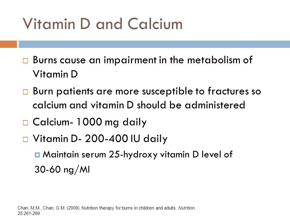 Vitamin D and Calcium Burns cause an impairment in the metabolism of Vitamin D.