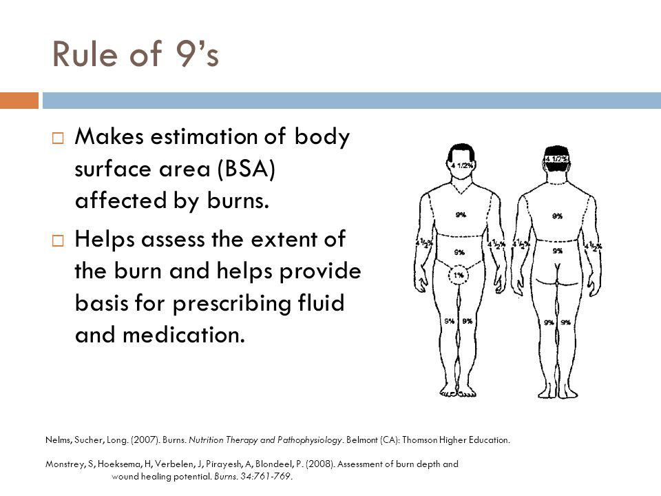 Rule of 9's Makes estimation of body surface area (BSA) affected by burns.