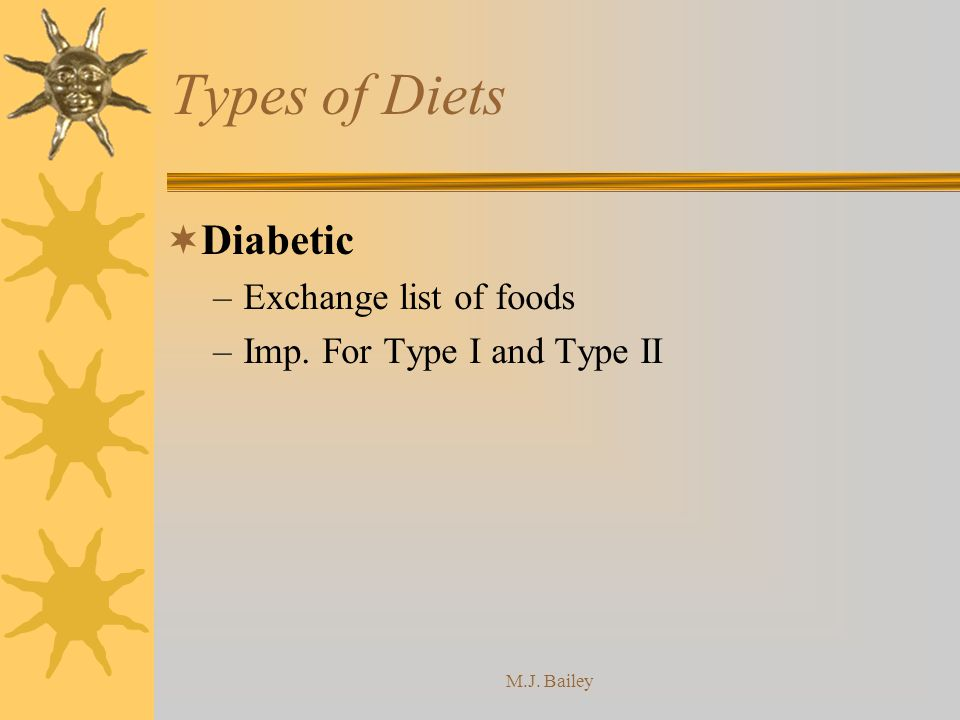 Types of Diets Diabetic Exchange list of foods