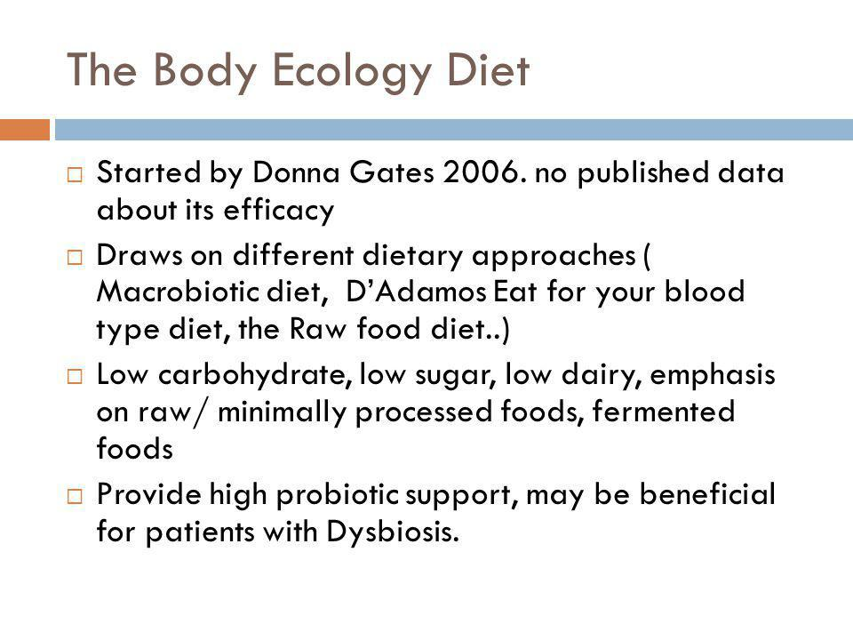 The Body Ecology Diet Started by Donna Gates 2006. no published data about its efficacy.