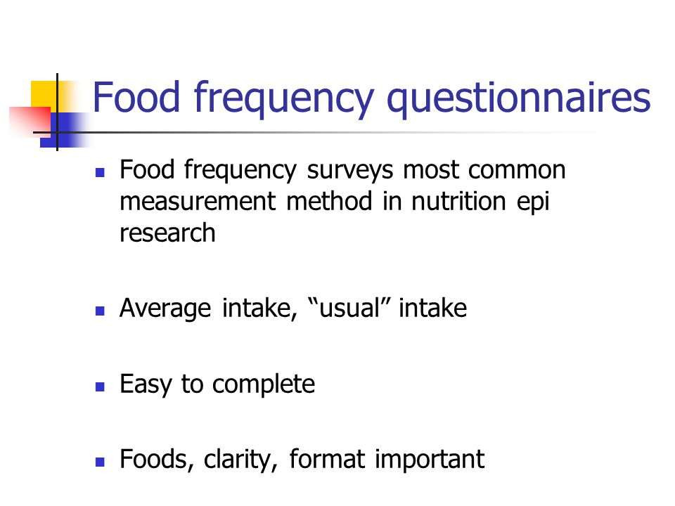 Food frequency questionnaires