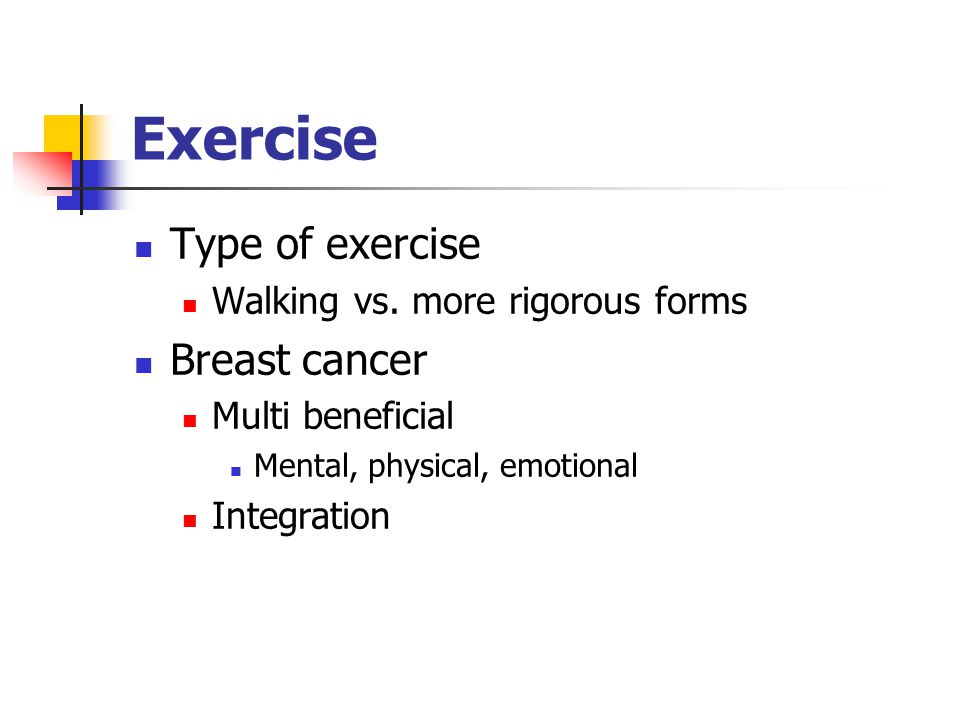 Exercise Type of exercise Breast cancer