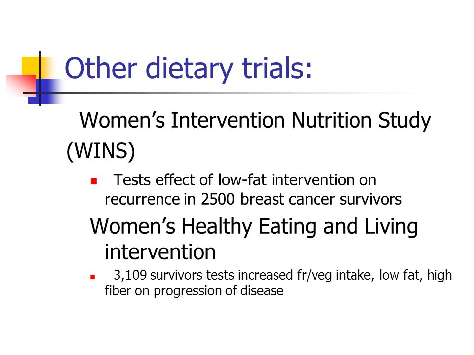 Other dietary trials: Women's Intervention Nutrition Study (WINS)