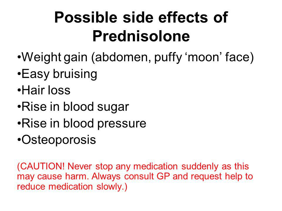 Possible side effects of Prednisolone