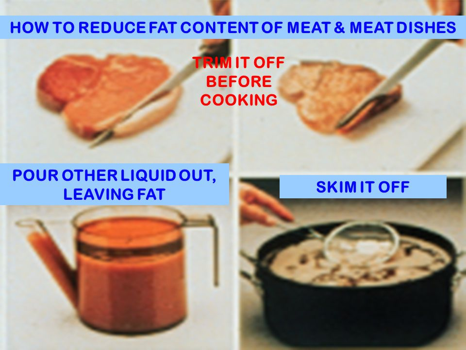 HOW TO REDUCE FAT CONTENT OF MEAT & MEAT DISHES