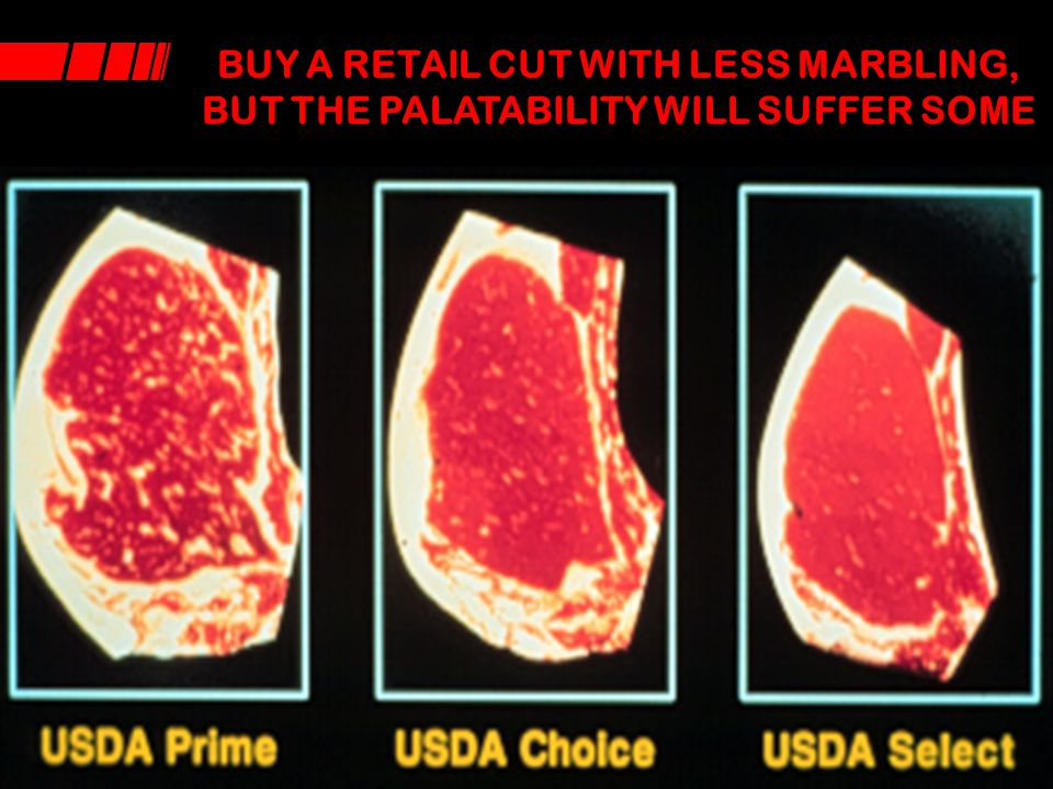 BUY A RETAIL CUT WITH LESS MARBLING, BUT THE PALATABILITY WILL SUFFER SOME